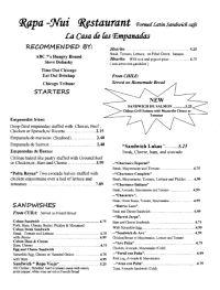 Rapa Nui Restaurant Menu